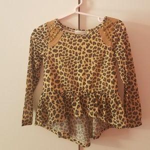 leopard print hi-low toddler top 2T NWT!
